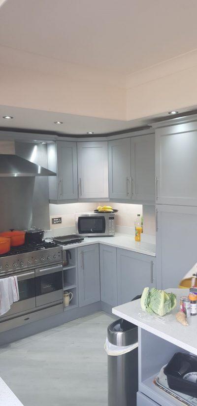 Corner view of kitchen after respray